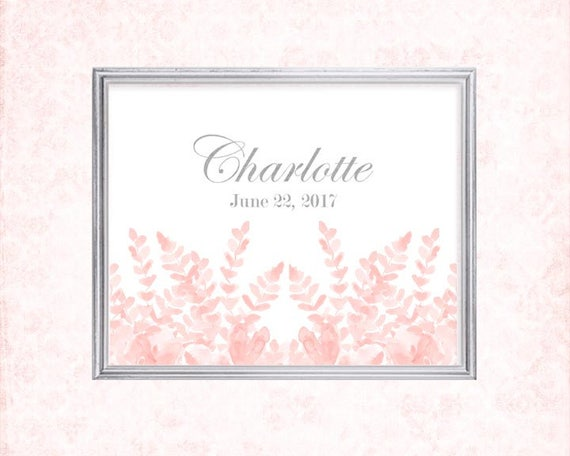 Newborn Girl Gift, 8x10 Birthday Print in Blush and Gold, 8x10