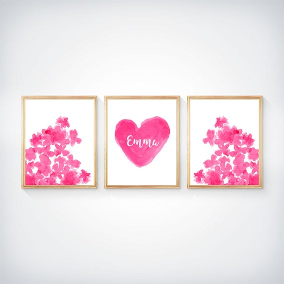 Hot Pink Flowers and Heart Print Set for Girls Room, Set of 3- 8x10 Personalized