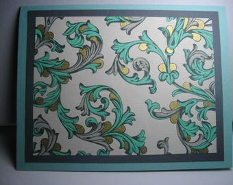 Turquoise, Gray, and Gold Florentine 7-Card Box
