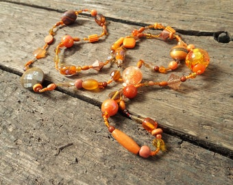 Long Necklace, Gift for Her, long beaded necklace, boho necklace, boho jewelry, Orange necklace, beaded necklace, necklace, orange jewelry
