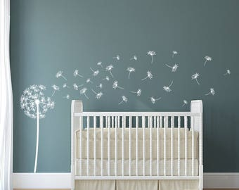 Dandelion Vinyl Wall Decal with 31 DIY floating seeds in 3 sizes K545