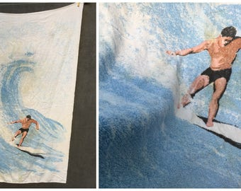 60's Terry Treasure of California Surf Surfing Surfer Beach Towel