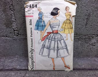 50's Simplicity 2414 Pattern Misses' One-Piece Dress and Jacket - Size 14 Bust 34