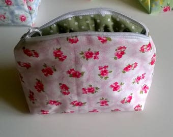 Pink Floral Cotton Make Up Bag with polka dot lining