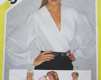 80s Front Wrap Blouse Sewing Pattern/ Simplicity 6221/ Bust 36 UNCUT