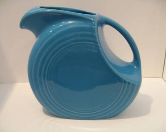 Vintage Fiesta Ware Turquoise Disc Pitcher