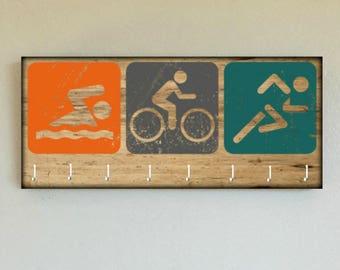 "Race Medal Holder /  Race Medal Hanger. ""SWIM BiKE RUN Triathlon"" Wood Wall Mounted Wood Organizer. CUSTOMIZATION Available"