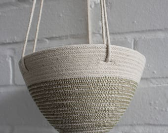 Hanging Planter in Olive Green  // Cotton Rope Hanging Planter // urban jungle // jungalow // succulent pot // cactus pot