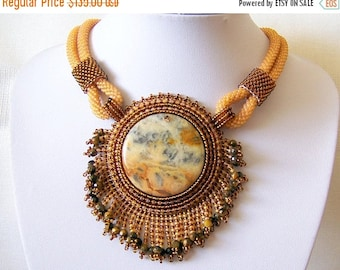 15% SALE Beadwork Bead Embroidery Pendant Necklace with Mexican Crazy Agate - AMBER WHISPER - Creamy amber and brown statement modern neckla