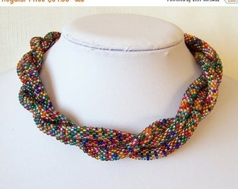 15% SALE Long Beaded Crochet Rope Necklace - Beadwork - Seed beads jewelry - Elegant - Mosaic - Geometric - colorful necklace, multi color n
