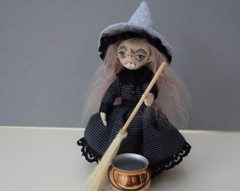 OOAK-Art Doll - Witch-Pagan-Florence-Miniature-Weird-Cute-Fairy tale-Handmade- By Doll Artist Cheryl Austin