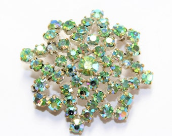 Green Sparkly Rhinestone Diamante Snowflake Brooch (c1960s) - Wedding