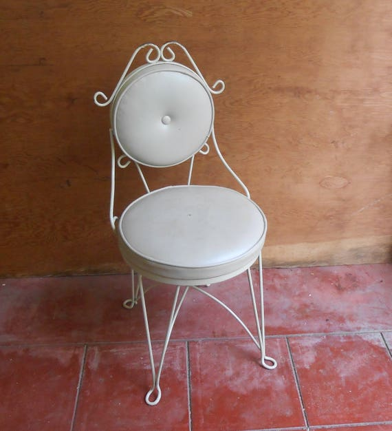 Vintage Metal Ice Cream Style Boudoir Vanity Chair Vinyl