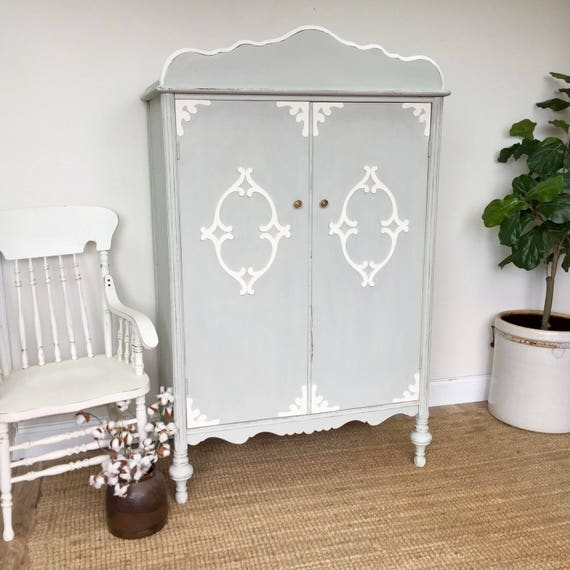 Vintage Armoire - Antique Chifferobe - Vintage Furniture - Armoire Wardrobe - Distressed Furniture - Shabby Chic Armoire -