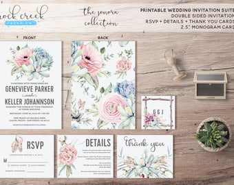 The Sonora Collection Printable Wedding Invitation Suite