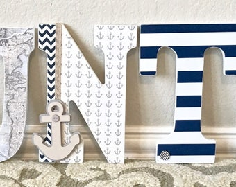 Nautical baby boy etsy nautical baby boy name wooden wall letters personalized baby gift custom name negle Gallery