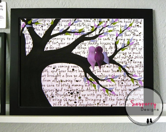 Bird Nursery Art New Parent Gift for Baby - Bird Nursery Decor Family Painting,  Personalized Purple Nursery Artwork, Single Mom Gift Idea