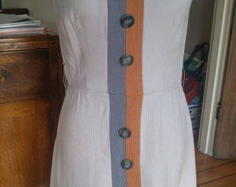 Vintage 1960s grey color block sleeveless scooter dress, S to M, Alison Ayres
