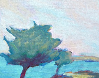 """Teal landscape abstract tree painting 