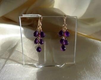 Amethyst briolette earrings 14k gold filled leverback item 875