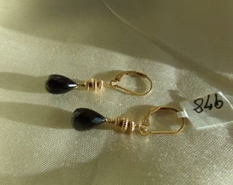 Black spinel earrings leverback14k gold filled MLMR item 978w