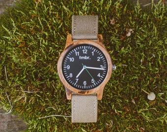 Personalized Watch Wood, Men's Wood Watch Personalized, Custom Engraved Zebrawood Watch - RIDGE-ZB