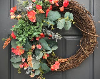 Spring Wreaths, Spring Door Decor, Coral Wreath, Summer Wreaths, Gift for Her, Housewarming Gift, Spring Decorations, Coral Colored Wreath