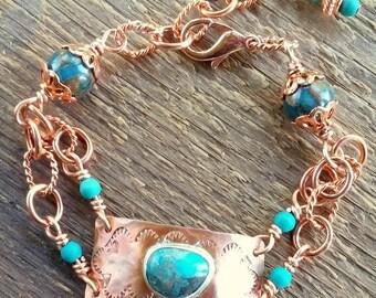 Turquoise Bracelet, Wrap Bracelet, Copper Bracelet, Chain Bracelet, Bohemian Jewelry, Link Bracelet, Southwest Jewelry, Cowgirl Bracelet