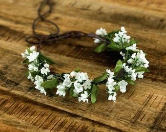 The Juliette Floral Crown Head Wreath Halo in White