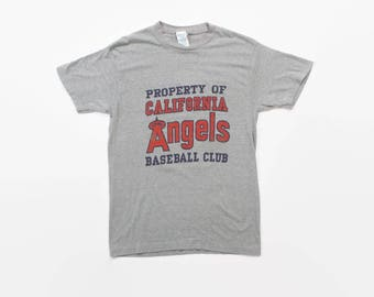 Vintage 80s Anaheim Angels T-Shirt / 1980s Soft Thin California Heather Gray Baseball Tee Shirt S