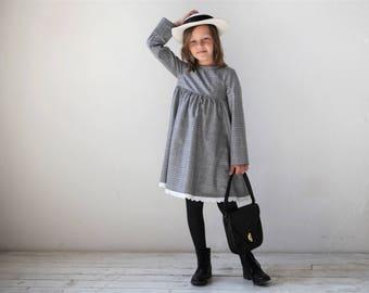 Girls dress Girls wool dress Toddler girl dress Girls clothes Grey checkered tweed dress Autumn Winter dress Everyday dress Back to School