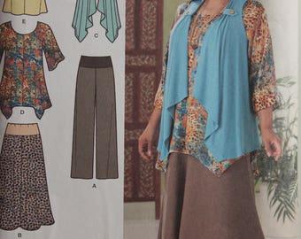 Top, vest, Skirt and pants by Khaliah Ali - Simplicity 2195 - Uncut - Sizes 20W-28W