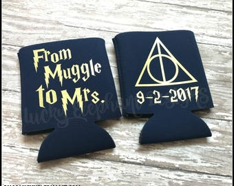 From Muggle to Mrs Can Cooler - Muggle to Mrs Wedding Can Cooler - Harry Potter Wedding Can Cooler - 13 Colors Available!