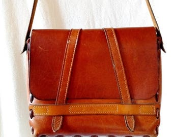 Vintage 70s Brown Stuctured Leather Large Purse