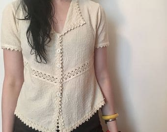 90s cream button-up knit blouse, statement collar crochet top, small - vintage -