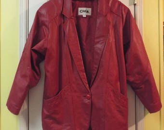 Women's Funky Red Leather Jacket 1970s Disco Style
