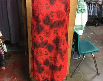 Beautiful red tiki dress with image of the islands of hawaii