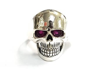 Women's Quality Skull Ring With natural Ruby eyes 925 sterling silver