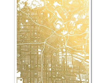 Map Of Los Angeles Etsy - Los angeles map wallpaper