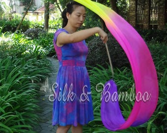 1 pc 2.5m*0.3m purple-pink-yellow silk streamer, for dance or play, real light silk, intercangeable sticks