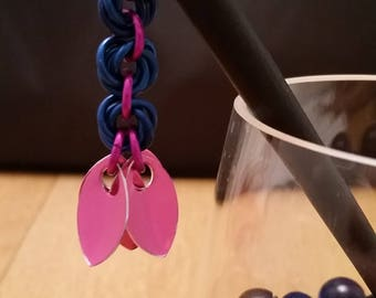 Pink & Blue Chainmaille Scale Hairsticks