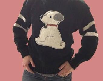 Dog Sweater/ Black Sweater with Dog/ Holiday Sweater/ Trendy Sweater/ Animal Sweater/ Black and White Striped Sweater/ White Dog