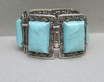 Chunky 1960's Vintage Faux Turquoise WIDE Silver Tone Filigree Bracelet