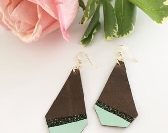 Leather earrings, handpainted earrings, painted leather, geometric earrings, dipped earrings, summer accessory, mint green
