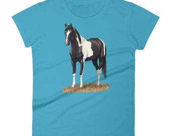 Beautiful Black Paint Horse Women's short sleeve t-shirt