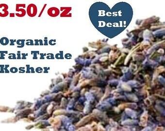 Organic LAVENDER FLOWERS (Lavandula angustifolia) -1oz dried herb- nonGMO, fair trade, kosher, certified
