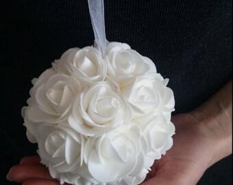 SALE - Single white foam flower kissing ball - wedding pew flower ball - wedding rose decor - wedding table centerpiece - white kissing ball