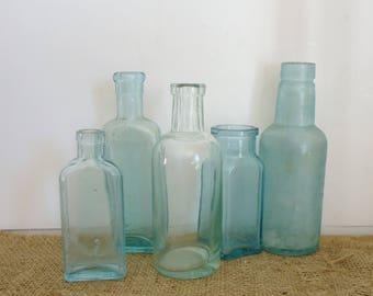 antique bottles, aqua blue glass bottles, 5 glass old medicine bottle collection, pharmacy blue bottles, vintage glass, old glass bottles
