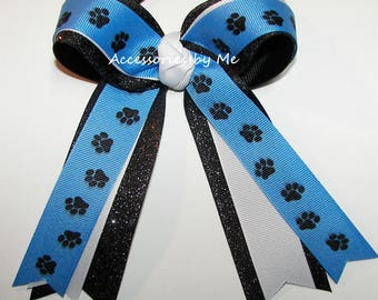 Blue Paw Print Bow, Carolina Cheer Bow, Blue Black Sparkly Panthers Bow, Blue Black Softball Bow, Gymnastics Team Bow, Bulk Paw Print Bow