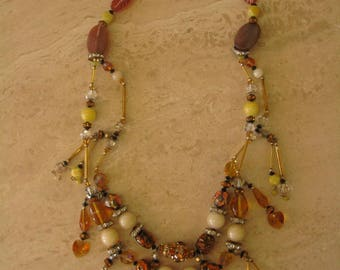 Czech and Murano glass beads necklace and earrings